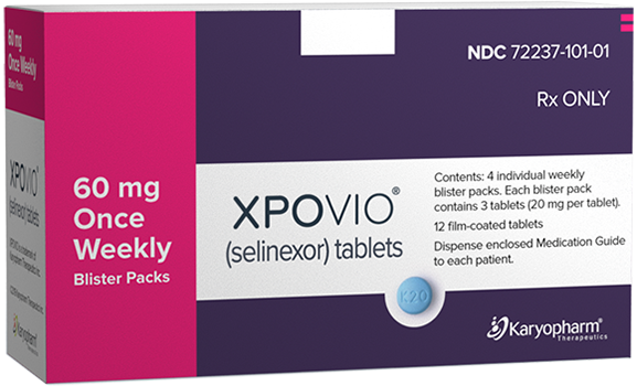 XPOVIO® (selinexor) 60 mg once weekly dose packaging